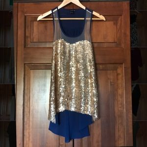 Audrey Ann gold and blue high low tank